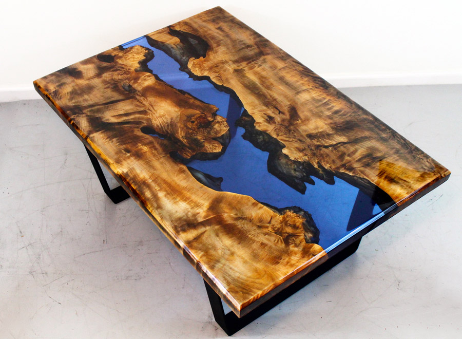 Kovada Walnut Epoxy Coffee Table