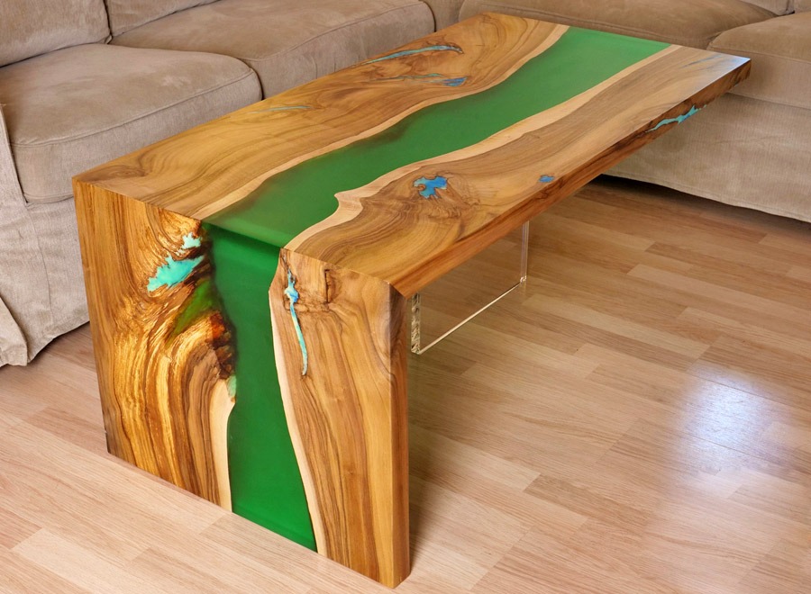 Samsun Walnut Epoxy Coffee Table