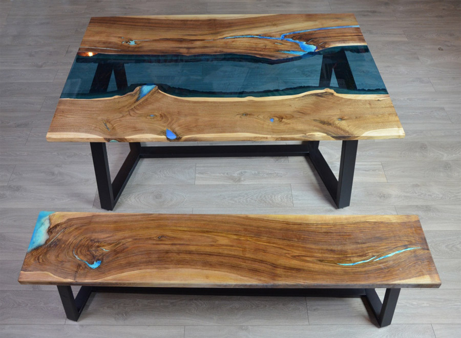 Ordu Walnut Epoxy Table