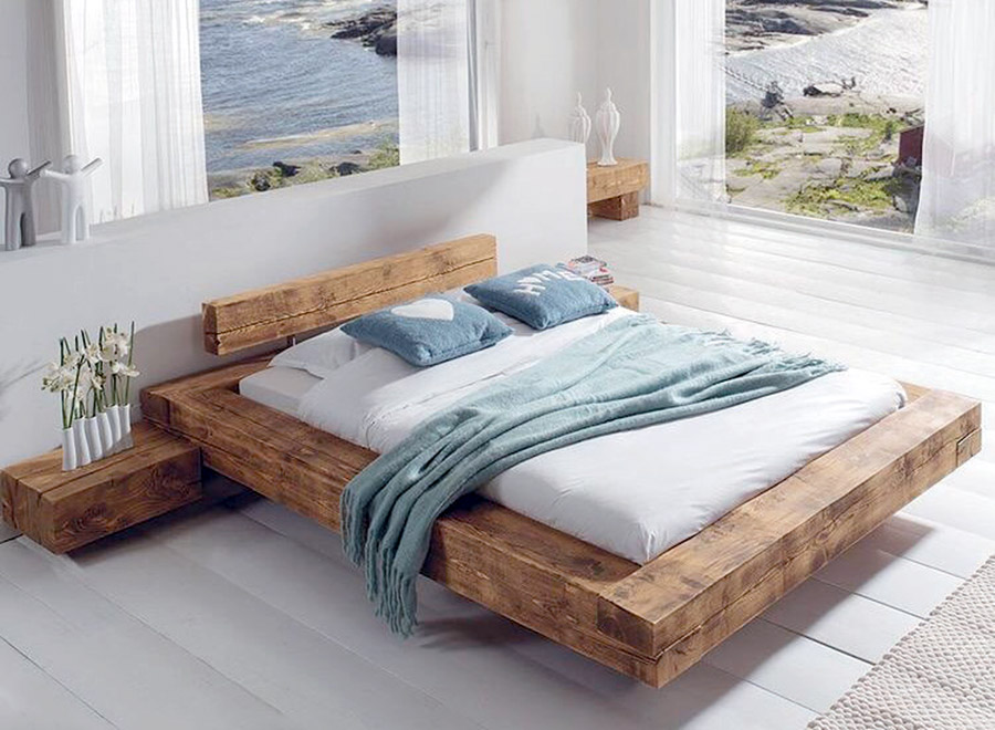 Anadolu Natural Wood Bed Frame